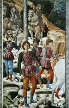 BENOZZO GOZZOLI (1421 - 1497) - Procession of the Magus Caspar (detail). 1459-1461. West wall, Palazzo Medici-Riccardi, Florence, Italy.