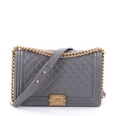 Online Sale - Authentic Gray Chanel Boy Flap Bag Quilted Lambskin New Medium at Trendlee.com. Guaranteed genuine! Financing available. 2616201