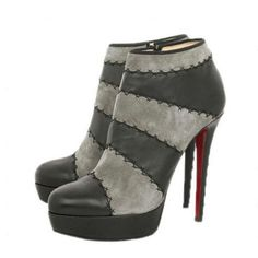 Christian Louboutin Ankle Boots 140mm Black Leather Grey Suede sale