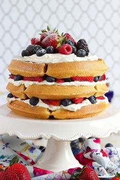 Ready in less than 30 minutes, this Berry Vanilla Bean Belgian Waffle Cake recipe is so simple to make! The perfect brunch or breakfast recipe for every party and gathering. | @suburbansoapbox