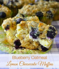 These Blueberry Oatmeal Lemon Cheesecake Muffins are so decadently delicious you might just want to throw on a dollop of whipped cream & call them dessert.