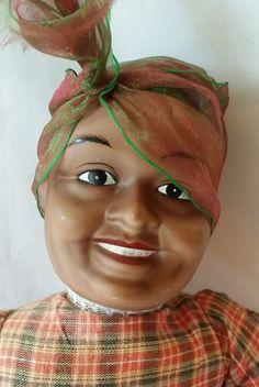 "Rare Vintage Mammy Doll ~ Porcelain 16"" Black Americana Doll - Aunt Jemima ~ Handmade Rag Doll ~ Bisque Head, Limbs by FugitiveKatCreations on Etsy"