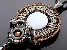 Gray gold Soutache necklace with Hematite.