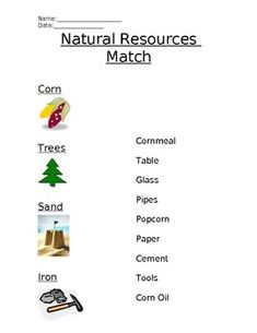 Printables Natural Resources For Kids Worksheets different types definitions and assessment on pinterest pin worksheet that helps students match natural resources to the corresponding human made resource dmo