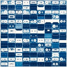 cassette tape cyanotypes (made by resting tapes on photosensitive paper and making multiple exposures with a light source).