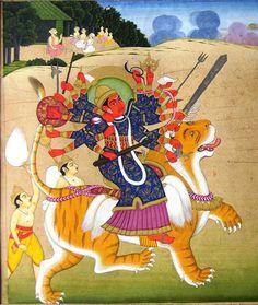 Maa Durga as Mahisasurmardini of Alwar style, late 18th century. c/o Prof Daljeet Kaur