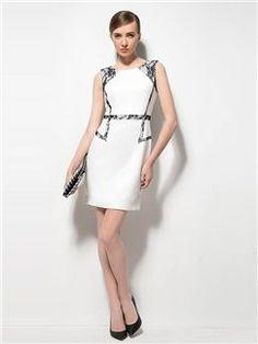 Elegant Patchwork Round Neckline Sleeveless Sheath Lace Dress