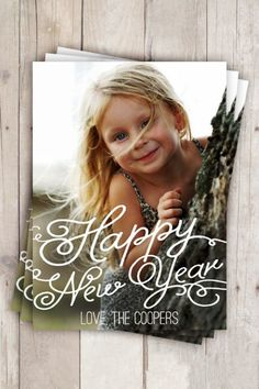 2015 Whimsy New Years Photo Cards, Personalized New Year Card, Customize Color and Fonts  #2015 #new #years
