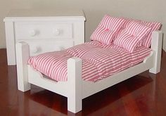 "Doll Bed Sofa Day Bed Mattress Pillows Hand Made For 18"" American Girl…"