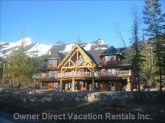 Spring look of this luxury mountain lodge with spectacular views everywhere. Vacation Resorts, Vacation Rentals, How To Get Warm, British Columbia, Spring Time, Condo, Villa, Mountain, Cabin