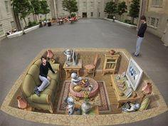 A sidewalk masterpiece from St. Petersburg international street art festival http://circleme.com/items/street-art--4