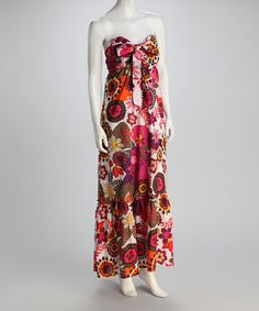 Sewing inspiration - different fabric, though.  Fuchsia Floral Strapless Maxi Dress
