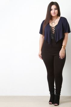 88b3f931f131 This plus size bolero features a flutter sleeves