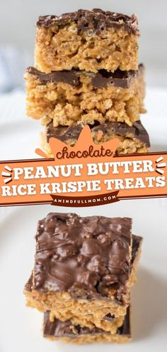 This easy dessert recipe doubles as a snack idea! Full of creamy peanut butter and finished off with a chocolate topping, these Rice Krispie Treats without marshmallows are irresistible! Save this back to school recipe! Homemade Donuts, Homemade Desserts, Best Dessert Recipes, Easy Desserts, Delicious Desserts, Snack Recipes, Bar Recipes, Snacks, Cookie Recipes