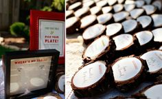 wood stump place cards @Tiffany Collins