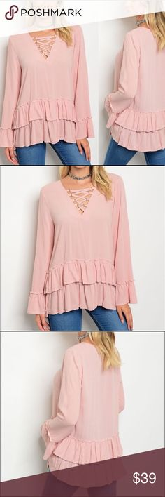 🎉JUST IN🎉 Blush Pink Ruffle Layered Top NEW Blush Pink Long Bell Sleeves with Lace up Neckline and ruffle bottom. Super nice.  100% Rayon. ee:some Tops Blouses