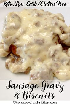Sausage Gravy & Biscuits - Keto, Low Carb and Gluten Free An old Southern favori. - ketoSausage Gravy & Biscuits - Keto, Low Carb and Gluten Free An old Southern favorite turned Keto! I use my same Keto Drop Biscuits recipe and top it with a wond Biscuits Keto, Sausage Gravy And Biscuits, Drop Biscuits, Fluffy Biscuits, Keto Pancakes, Low Carb Granola, Ketogenic Recipes, Low Carb Recipes, Cheap Recipes