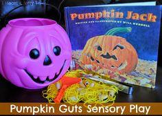 Pumpkin Guts Sensory Bin--A mess free way to explore the insides of a pumpkin--via I Heart Crafty Things