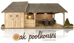 oak poolhouses House With Land, Small Log Cabin, Shed Design, Outdoor Sheds, Backyard, Patio, Cottages, House Plans, Pergola