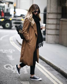 Emma Hillwears black and white converse with... - Street Style & Fashion Tips