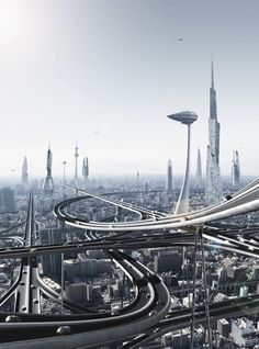 futurism with rail, future city, futuristic city, futuristic architecture. It would be SO cool if Kitchener, let alone Canada was like this in the future, of course with non-pollution.