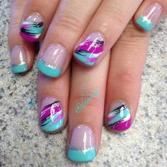 Image via Neon nails and black studs Image via Bright Neon Green Nails Image via Cute summer bright nail designs Image via bright nails Image via Bright summer man Bright Nail Designs, Cute Nail Designs, Hot Nails, Hair And Nails, Gorgeous Nails, Pretty Nails, Bright Nails, Teal Nails, Green Nails