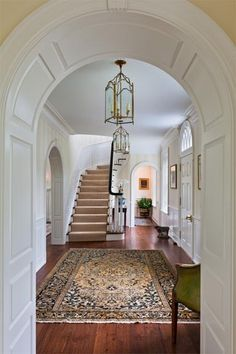 Front Hall with side-facing Stairs (P-Gallery 2 — Peter Zimmerman Architects) Entry Stairs, Entry Foyer, Grand Entryway, Home Interior, Interior Decorating, Interior Design, House Goals, Beautiful Interiors, My Dream Home
