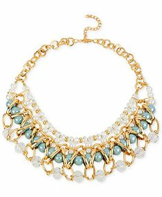 Haskell Gold-Tone Woven Faux Pearl and Bead Frontal Necklace