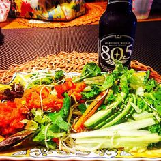 The Chef is in!  #805beer #spicytuna #salad with #avocado #daikonradish #carrots #microgreens and #gingerdressing.  The Chef is Missed!  #healthyfoodporn #healthyeating #eathealthy #eatathome #firestone805 #805 #firestone #beer #cervesa #querico #iloveelsegundo by abbypistolas