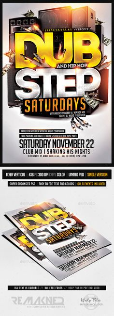 Dubstep And HipHop | Flyer Template PSD