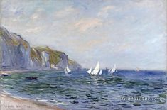 Claude Monet Cliffs And Sailboats At Pourville oil painting reproductions for sale