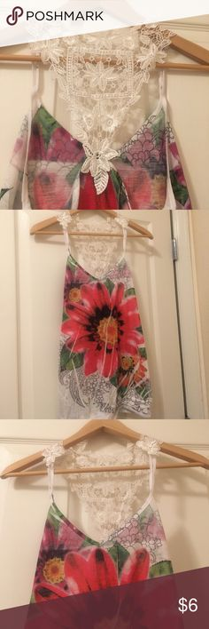 *SALE* Floral and Fun summer tank Tank top with flower and lace accent on back! Unique and fun! 🌸🌺 Rue 21 Tops Tank Tops