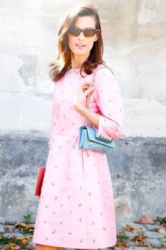 succumb to sweet shades like baby blue and rose pink #streetstyle #hanneli