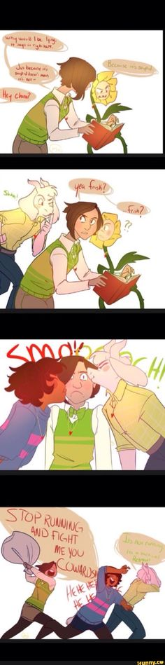 Ahhh i ship Asriel and Frisk if he got cured. But why is flowey there? Isnt Flowey Asriel?