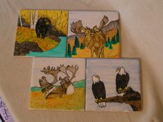 Wildlife in Fall Painted Tiles/Coasters by cherigueco on Etsy, $40.00