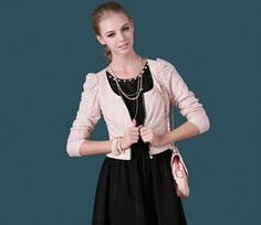 $39.99  Pink Lace Jacket With Front Zipper#group buying#whatabeautifullife.com