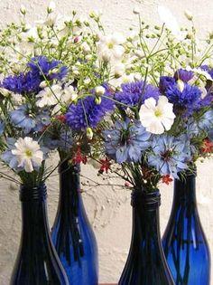 Cornflower ideas for table flowers - lovely in a blue glass bottle?