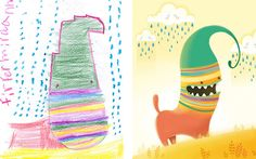 Artists Give New Life to Children's Monster Drawings to Encourage a Creative Path