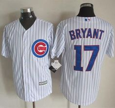 1f7c7f475 Cubs  17 Kris Bryant White Strip New Cool Base Stitched MLB Jersey