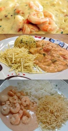 Strogonoff de Camarão #camarão #receita #culinária #strogonoff #pilotandofogão Healthy Cooking, Cooking Recipes, Healthy Recipes, Seafood Recipes, Dinner Recipes, My Favorite Food, Favorite Recipes, Salty Foods, Baked Chicken Recipes