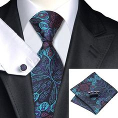 SN-612 Mens Blue Jacquard Woven Necktie Formal Business Wedding Tie Set