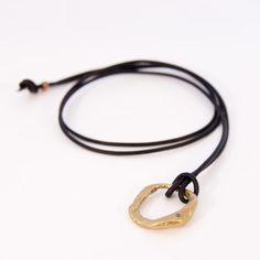 Ann Chikahisa Bronze Circle Stone Necklace with Diamond