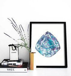 Sapphire Poster PRINTABLE FILE  Rock art gem art by Dantell #etsyart #etsy #sapphire #gemart #watercolor #poster #sapphireart #gems #gemstones