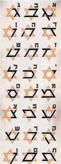 """""""The Star Tetrahedron is also known as the Star of David.  The Star of David is the symbol of Judaism, a set of religious beliefs and practices that originated from the Hebrew Bible. It is interesting to note that, when drawn on top of one another, the 24 letters in the ancient language of Hebrew together form the Star Tetrahedron."""""""