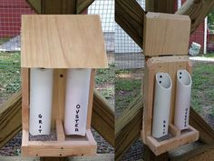 A home-made chicken feeder - made by the chicken chick on facebook https://sphotos-b.xx.fbcdn.net/hphotos-frc1/q75/s720x720/1004426_661241147226428_1226546123_n.jpg