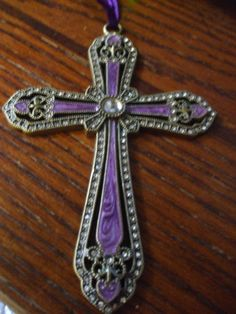 Vintage Decorative Purple Cross with Rhinestones by PAULIE22, $5.00
