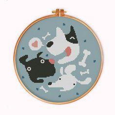 Funny Dog Heads cross stitch pattern modern cross by ThuHaDesign
