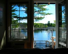 Windows and Doors — Cottage Window with Lake View Lake Cabins, Cabins And Cottages, Lake Cottage, Cottage Living, Waterfront Cottage, Ventana Windows, Cottage Windows, Cottage Door, Cabin In The Woods