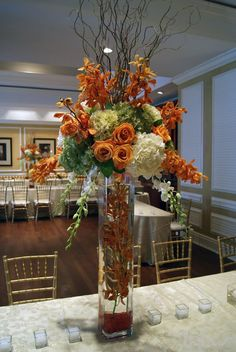Miami Flowers - Flowers in Miami FL Orchid Centerpieces, Tall Wedding Centerpieces, Tall Centerpiece, Large Flower Arrangements, Fall Arrangements, Tall Vase Decor, Vases Decor, Thanksgiving Flowers, Thanksgiving Decorations