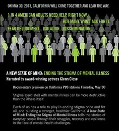 Stigma associated with mental illness can be more destructive than the illness itself.  Each of us has a role to play in ending stigma once and for all.  A PBS documentary narrated by Glenn Close takes on this challenge - Each Mind Matters
